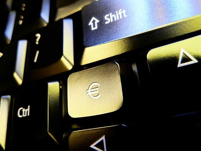 Euro currency on keyboard