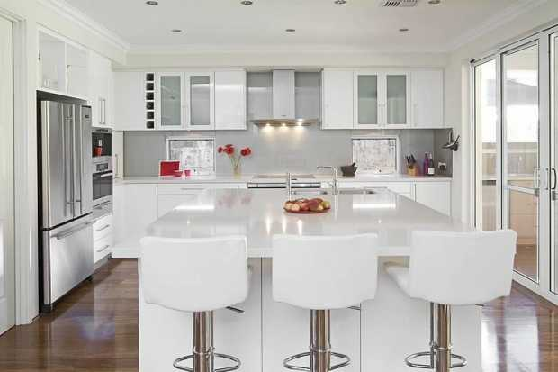 Kitchen with glass accents
