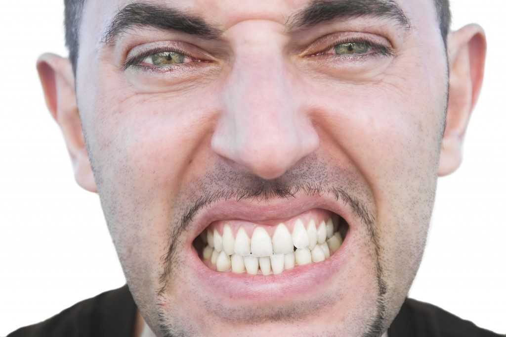 Man with close up angry face