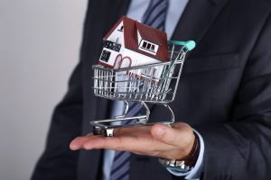 Man Holding A Model Shopping Cart With A  House