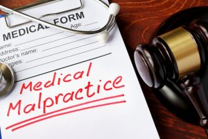 Medical malpractice form and a gavel