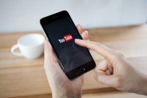 Youtube is being accessed on a mobile phone