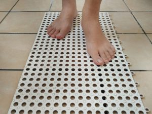Anti-slip mat inside the bathroom