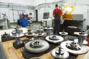 industrial cutting tools in front of cnc milling machine center
