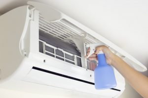 airconditioner unit being cleaned