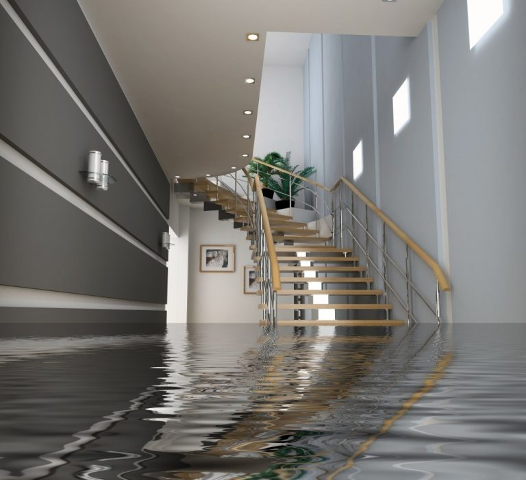 Flood down the stairs of the house