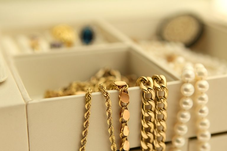 Necklaces in a jewelry box