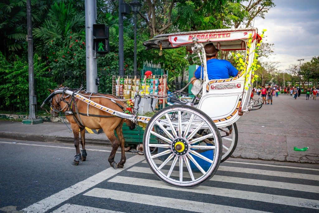 a horse-drawn carriage in the Philippines