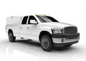 White pickup with cargo