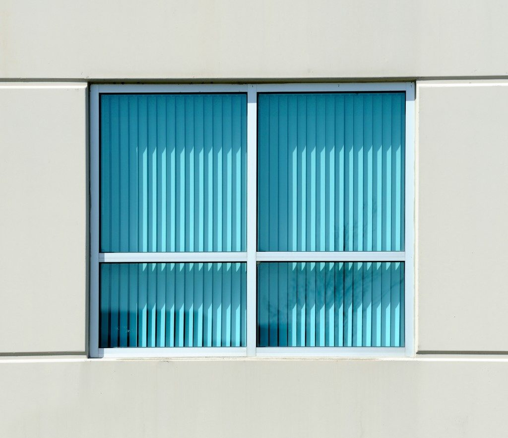 a window with blinds