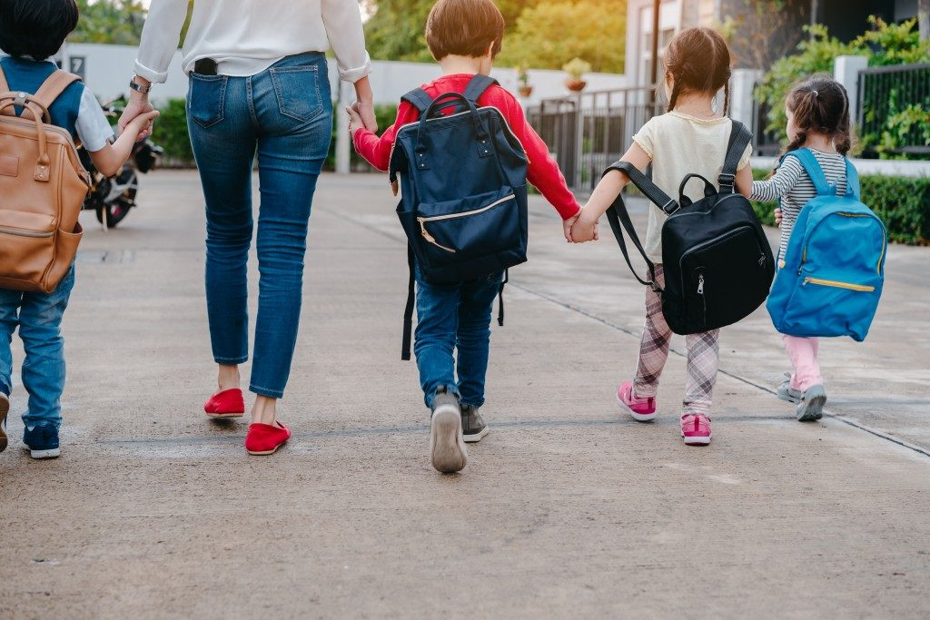 children walking safely on school ground