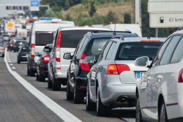 Traffic jam on the freeway