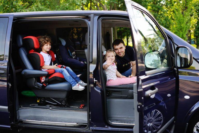 Family in a minivan