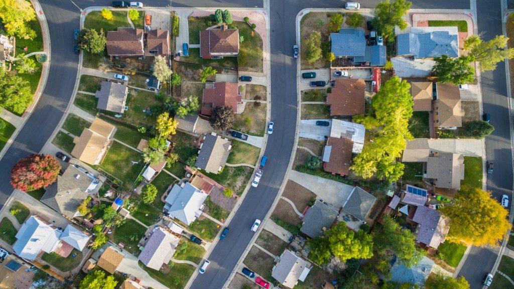 Aerial view of a neighbourhood