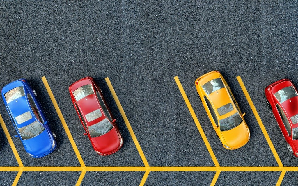 Aerial view of a parking lot