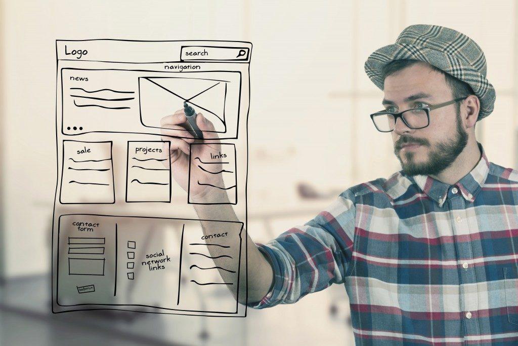 web designer drafting a design
