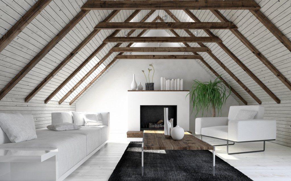 Living room interior in the attic