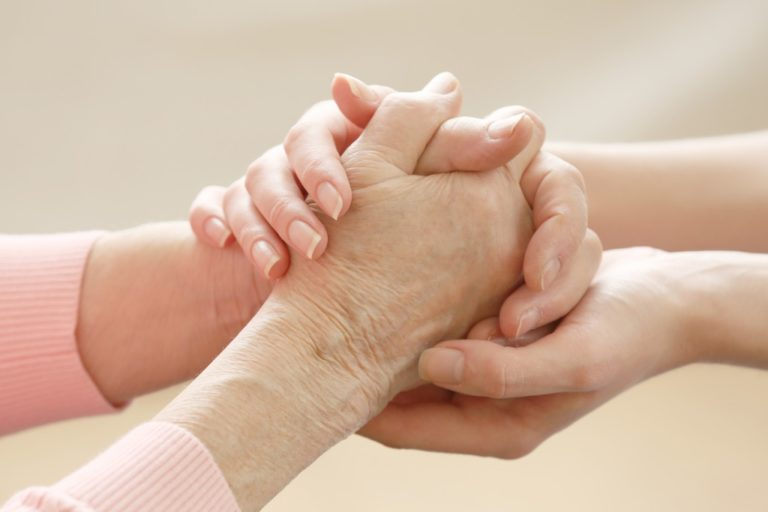 Helping hands elderly care concept