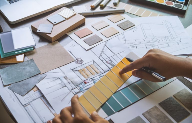 interior designer choosing colors and textures for design