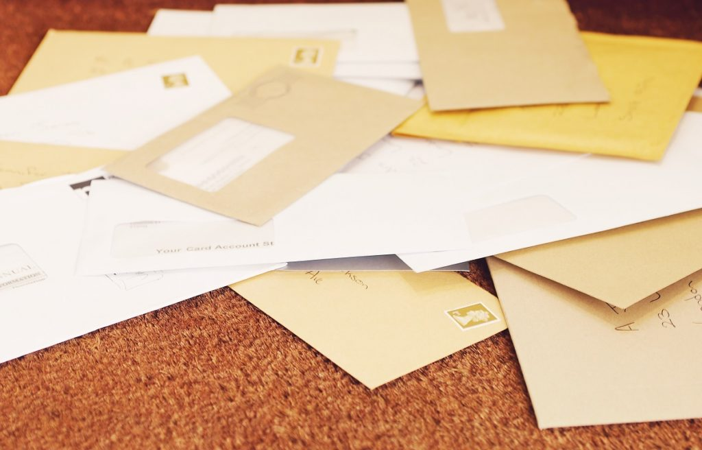 Letters in envelopes