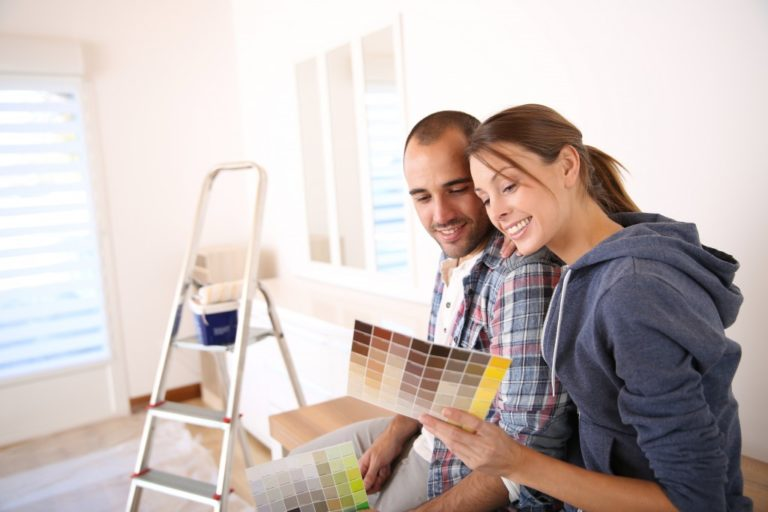 Couple choosing a new house color