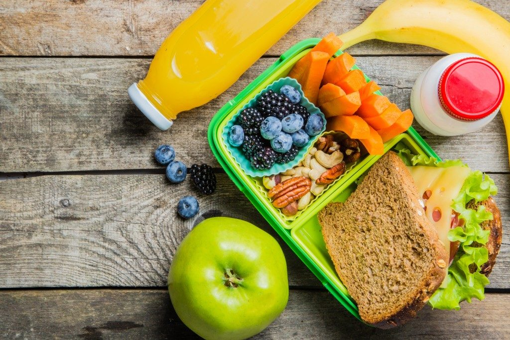 healthy packed lunch with juice