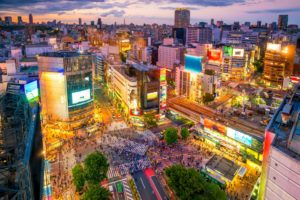 Shibuya Crossing from topview at twilight in Tokyo