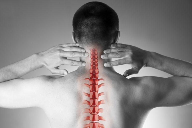 Cervical spine concept on man