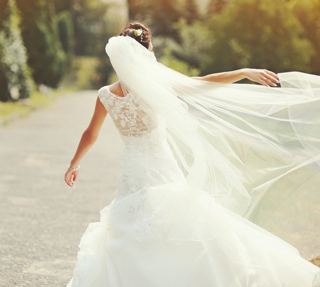 happy bride on her wedding day
