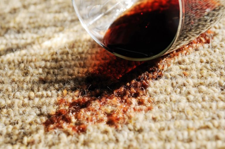 wine stain on the carpet