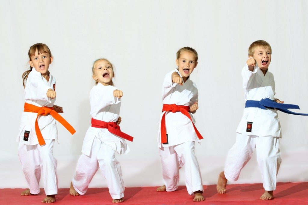 kids at karate practice