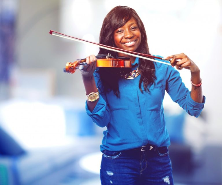 Female playing violin