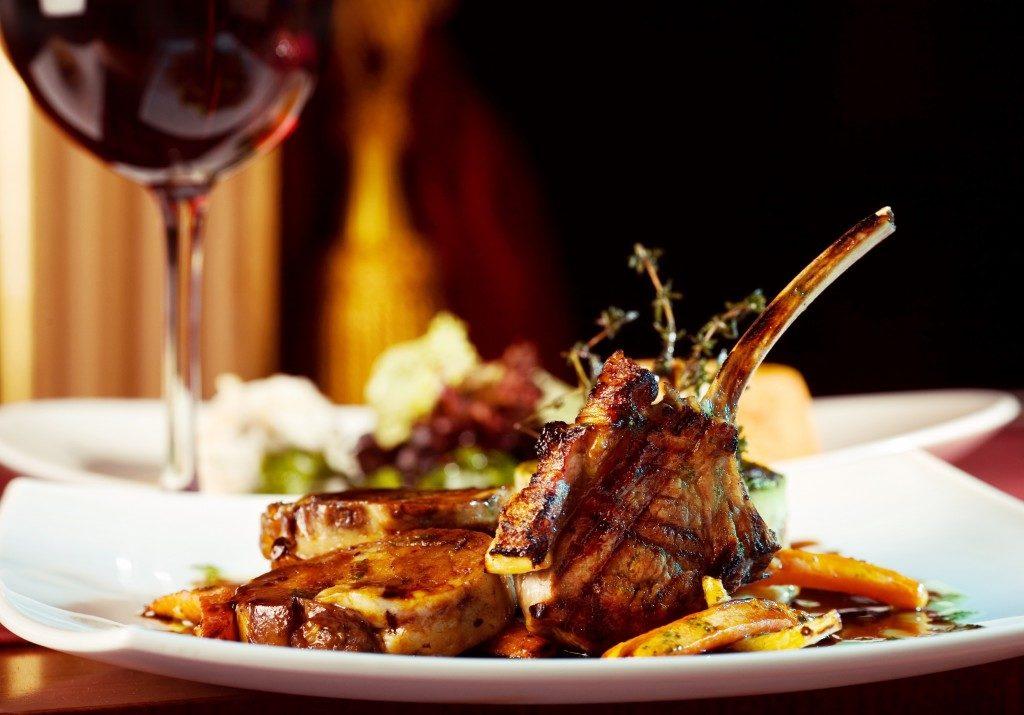 Lamb chops and wine