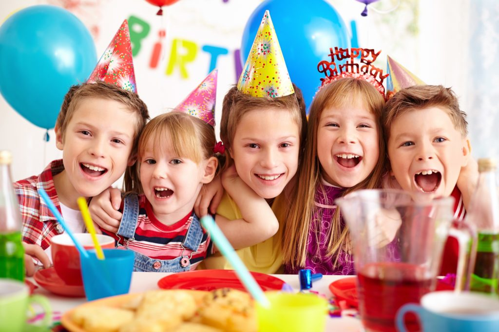 happy kids on a birthday party