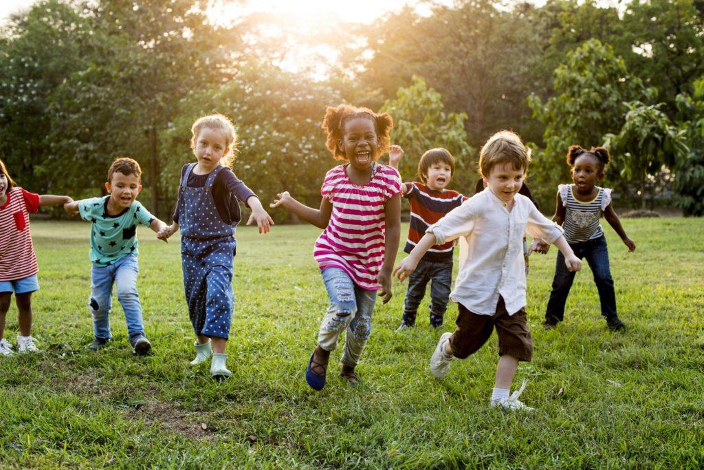 happy kids on running and playing around
