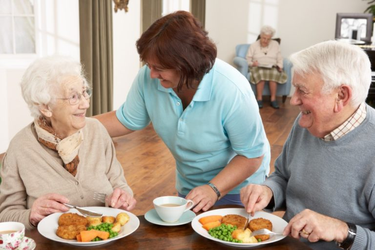 nursing home carer and seniors