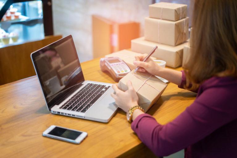 woman fixing her shipping