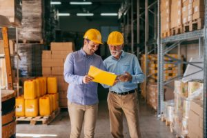 warehouse managers in discussion