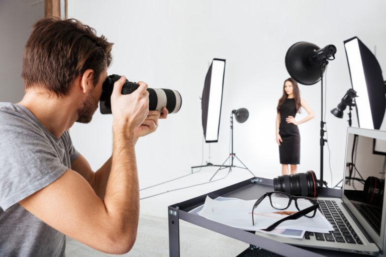 man taking photos of a woman