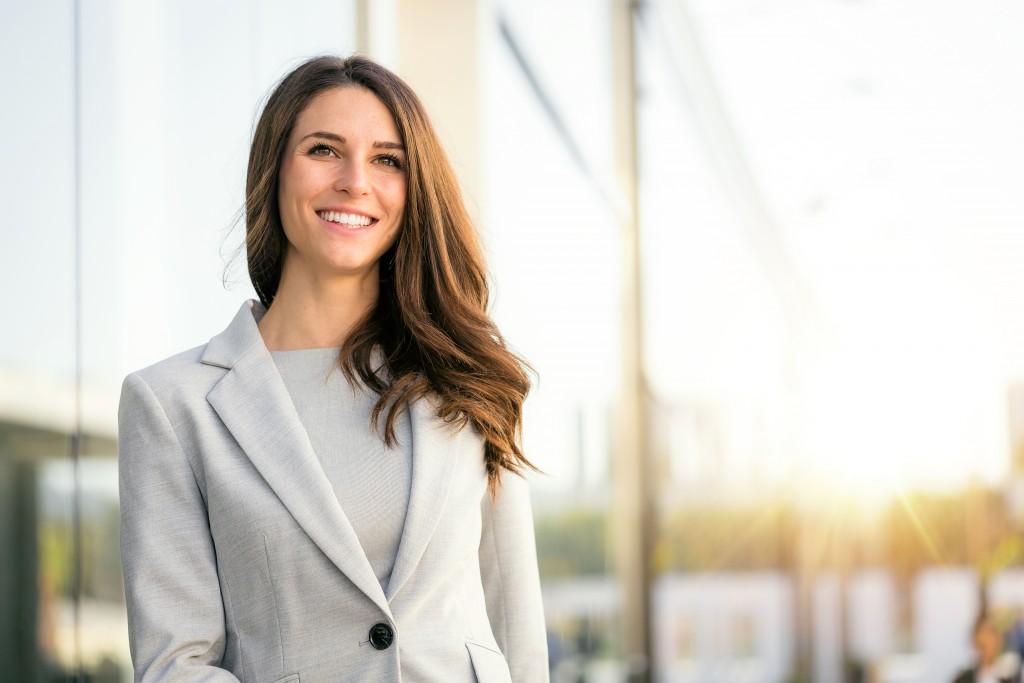 woman wearing corporate attire
