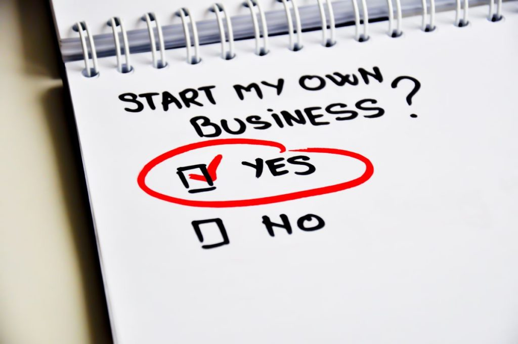 start my own business with yes checked on it