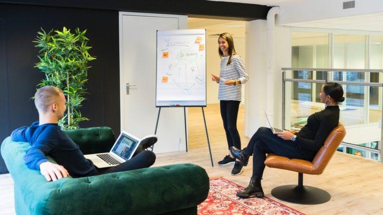 woman giving a presentation