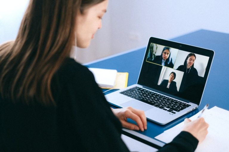 woman in an online conference