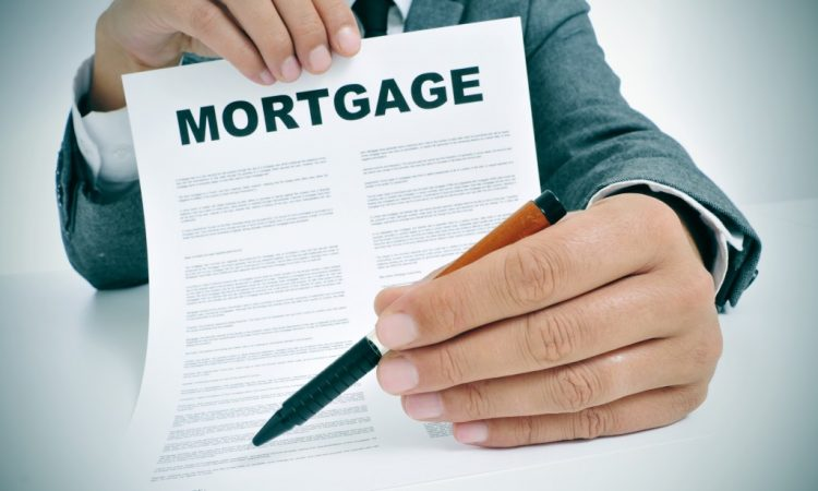 man showing a mortgage contract