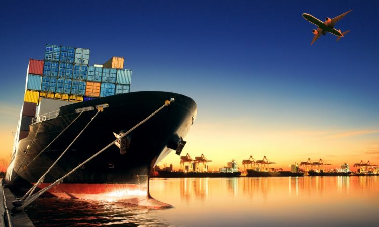 Container ship at bay
