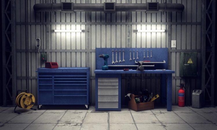 blue storage cabinets in garage