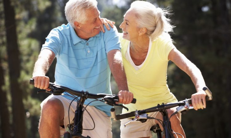senior couple having a bike ride
